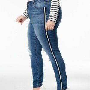 New Celebrity Pink Striped Mid Rise Skinny Jeans